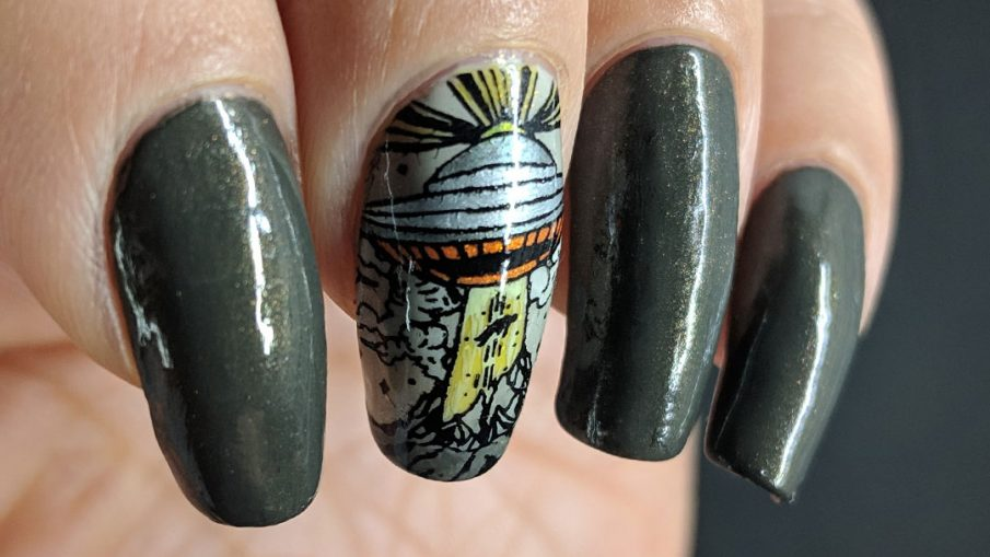 Alien Abduction - Hermit Werds - dark grey nail art with a single nail alien abduction stamp complete with flying saucer