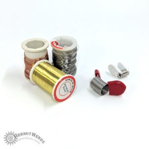 Beading supplies - wire and bead stoppers - Hermit Werds - 32-gauge wire in gold, copper, and silver and two kinds of bead