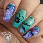 Black Cat Talk - Hermit Werds - smoosh marble nail art with purple and mint polishes with black cat stamping on top