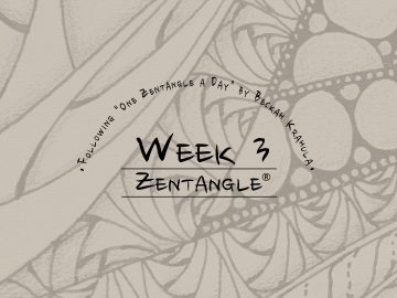 Daily Zentangle - Week 3 - Hermit Werds - Lisa's third week of progress, background is Onamato, Finery, and Betweed.