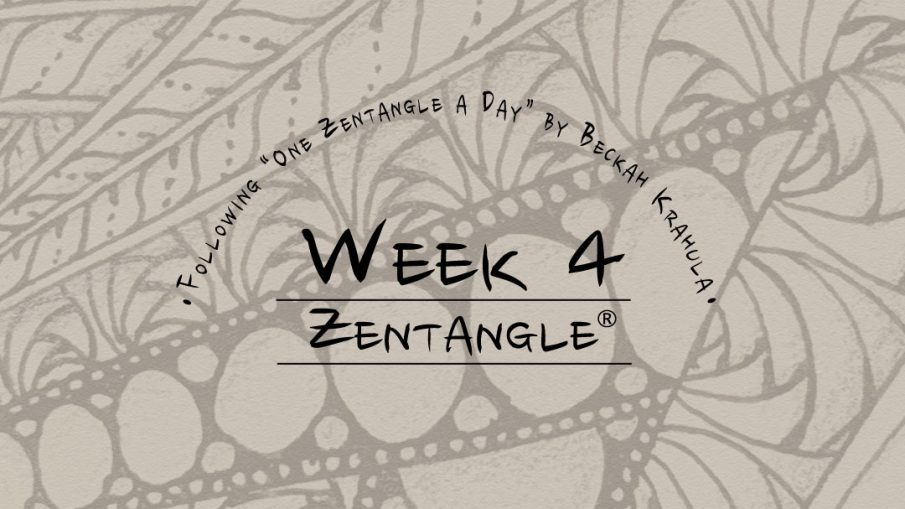 Daily Zentangle Week 3 @ Hermit Werds - Lisa's third week of progress; background is Finery, Onamato, and Betweed
