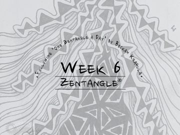 Daily Zentangle - Week 6 - Hermit Werds - Lisa's sixth week of progress; background is Enyshou tangleation, Rain, and Kathy's Dilemma tangleation