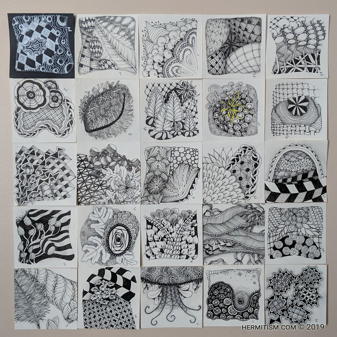 Day 32 Mosaic - Hermit Werds - Days 9 to 32 of Lisa's progress through One Zentangle a Day