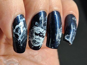 Ghost Crab of the Cosmos - Hermit Werds - deep blue nail art with crab and astrological Cancer symbol and ghostly white paint on top