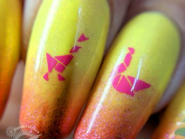 Pink Lemonade Bird Tangrams - Hermit Werds - Tangram puzzle nail art of bird tangrams on a sparkly yellow and pink baby boomer french tip