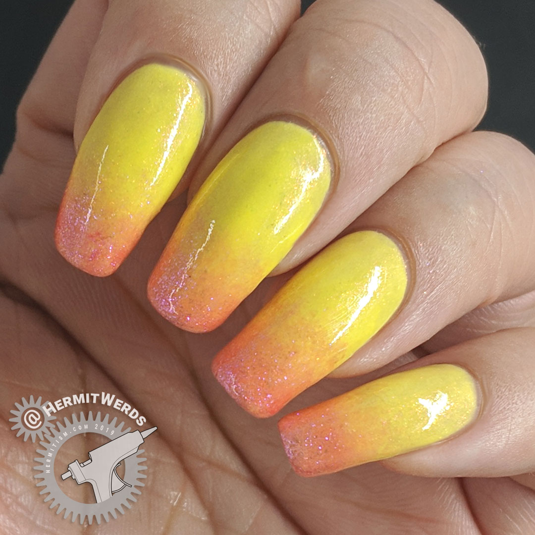 Pink Lemonade Baby Boomer French Tip - Hermit Werds - made with sparkly pink and yellow nail polish