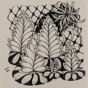 Daily Zentangle - Day 16 - Hermit Werds - Zentangle using Florz, Pepper, Yinx, Squid, and a Knightsbridge tangleation