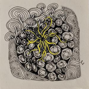 Daily Zentangle - Day 17 - Hermit Werds - Zentangle using Vitruvius, Courant, Sedgling, and Squid