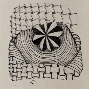 Daily Zentangle - Day 18 - Hermit Werds - Zentangle using Cadent, Huggins, Gneiss, and Isochor