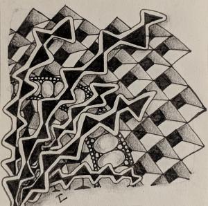 Daily Zentangle - Day 19 - Hermit Werds - Zentangle using Rain, Cubine, Beeline, and Onamato