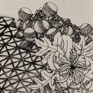 Daily Zentangle - Day 20 - Hermit Werds - Zentangle using Jetties, Sampson, 'Nzeppel and Squid