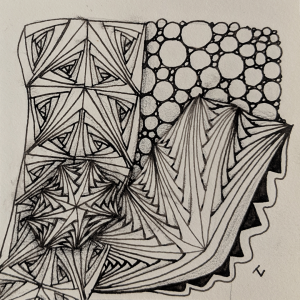 Daily Zentangle - Day 21 - Hermit Werds - Zentangle using Rick's Paradox, B'tweed, B-tweed with an aura, Rain tangleation, and Tipple