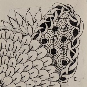 Daily Zentangle Day 22 @ Hermit Werds - Zentangle using Chainging, Tagh, Tat, and Beelight tangleation
