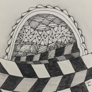 Daily Zentangle Day 23 @ Hermit Werds - Zentangle using Jonqal and Jonqal tangleation, Flux tangleation with aura, Yincut tangleation, and Kathy's Dilemma