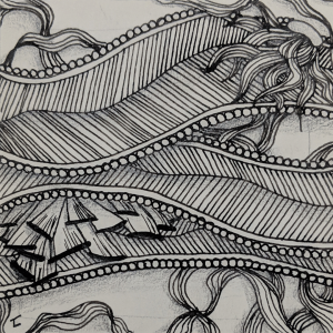 Daily Zentangle - Day 27 @ Hermit Werds - Zentangle using Meer, Enyshou and Enyshou tangleation, and Reef with enhatching