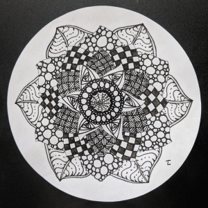 Daily Zendala - Day 33 - Hermit Werds - Zendala using Finery, Tipple, Knightsbridge, Yincut, Paradox, Onamato, and Crescent Moon tangleation Zentangles