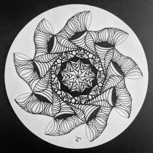 Daily Zendala - Day 35 - Hermit Werds - Zendala using Swells, Isochor, perfs, Paradox, and Betweed Zentangles