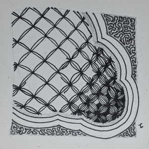 Daily Zentangle - Day 38 - Hermit Werds -  Zentangle using Bales variations with auras and Amaze