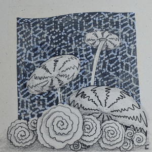 Daily Zentangle - Day 39 - Hermit Werds -  Zentangle using sashiko pattern, Pepper tangleation, and Printemps tangleation
