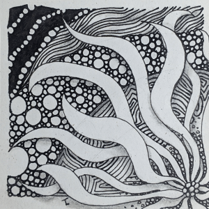 Daily Zentangle - Day 42 - Hermit Werds - Zentangle using Striping tangleated with perfs, Enyshou tangleation, Tipple, and Squid tangleation