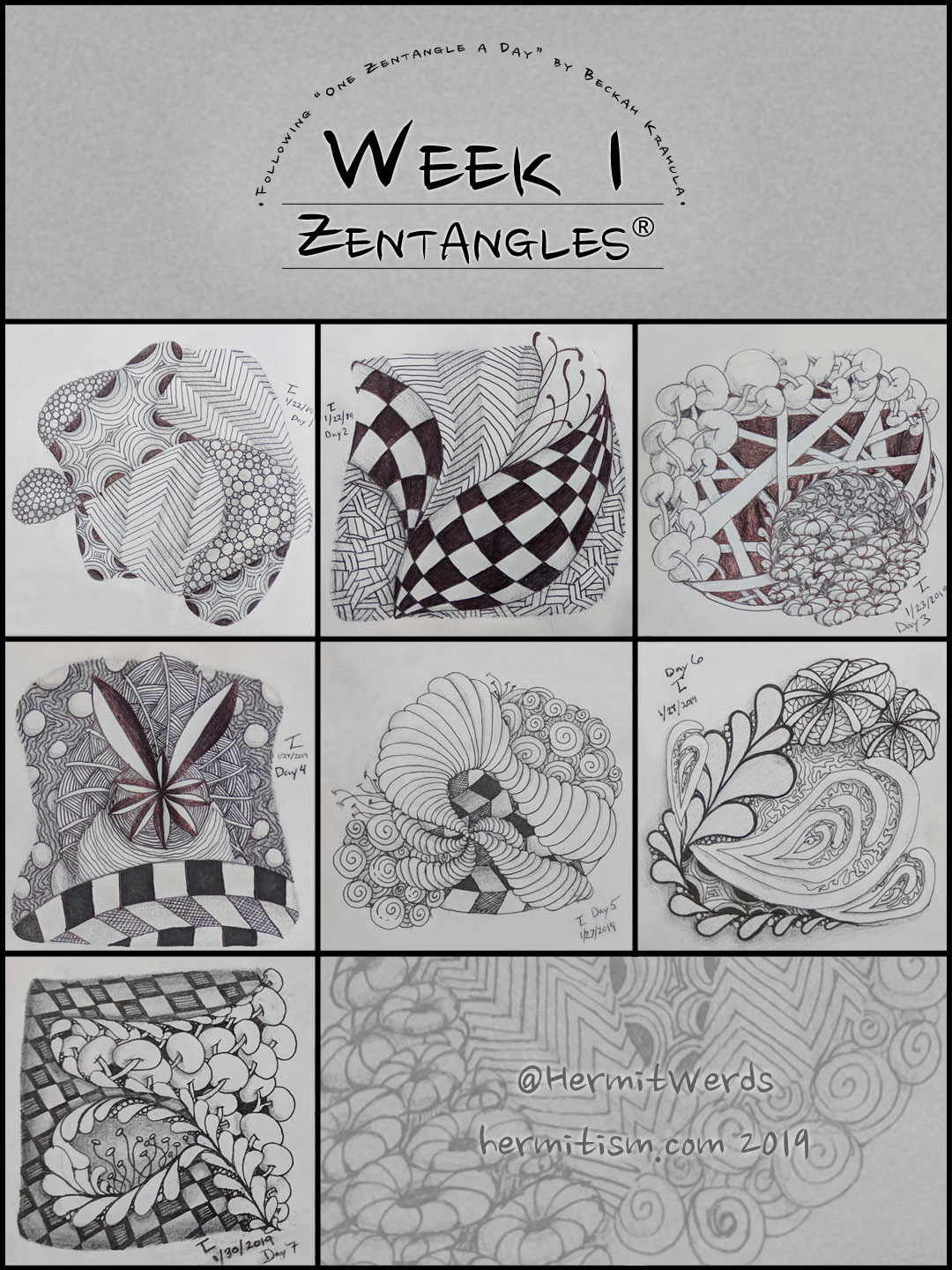 Week 1 Zentangles by Hermit Werds for Pinterest