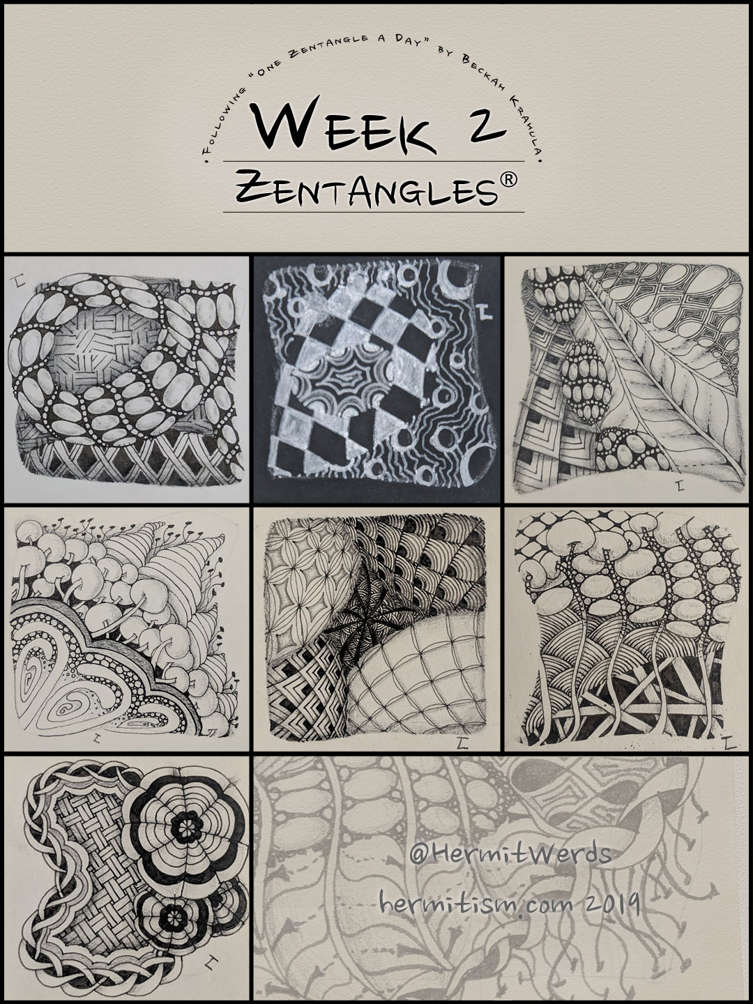 Week 2 Zentangles by Hermit Werds for Pinterest