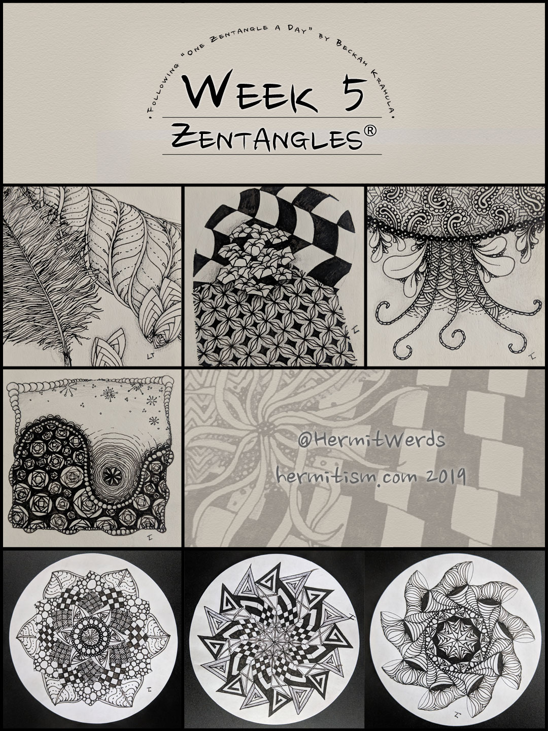 Week 5 Zentangles by Hermit Werds for Pinterest
