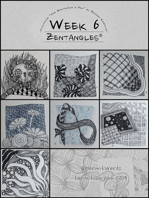 Week 6 Zentangles by Hermit Werds for Pinterest