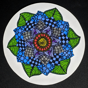 "Zendala ""Flower"" - Hermit Werds - Zendala using Finery, Tipple, Knightsbridge, Yincut, Paradox, Onamato, and Crescent Moon tangleation Zentangles colored in with sharpies"