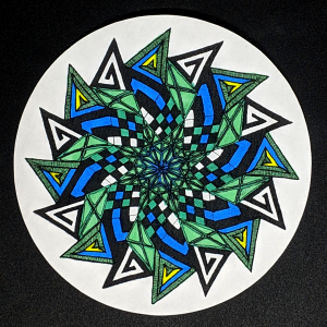 Cool Retro Zendala - Hermit Werds - Zendala using Emingle tangleations, Striping, Knightsbridge, and 'Nzeppel Zentangles colored in with sharpie marker