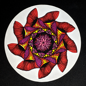 Fiery Zendala - Hermit Werds - Zendala using Swells, Isochor, perfs, Paradox, and Betweed Zentangles colored in with sharpie marker