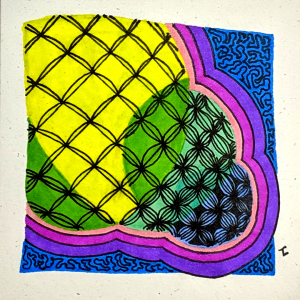 Bales Meteor ZIA - Hermit Werds - Zentangle using Bales variations with auras and Amaze colored in with sharpies