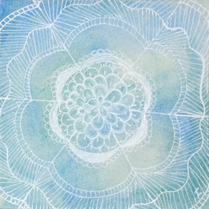 Watercolor Dyon ZIA - Hermit Werds - Zentangle using Dyon filled in with Tagh, auras, perfs, and Meer on a watercolor tile