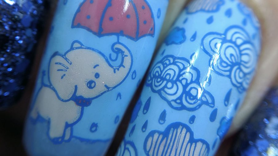 April Showers - Hermit Werds - glittery purple and blue rain-themed nail art with baby elephant holding an umbrella stamping decal