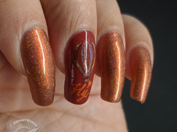Fly, Hot Air Balloon - Hermit Werds - Orange monochrome hot air balloon nail art with holographic nail polish