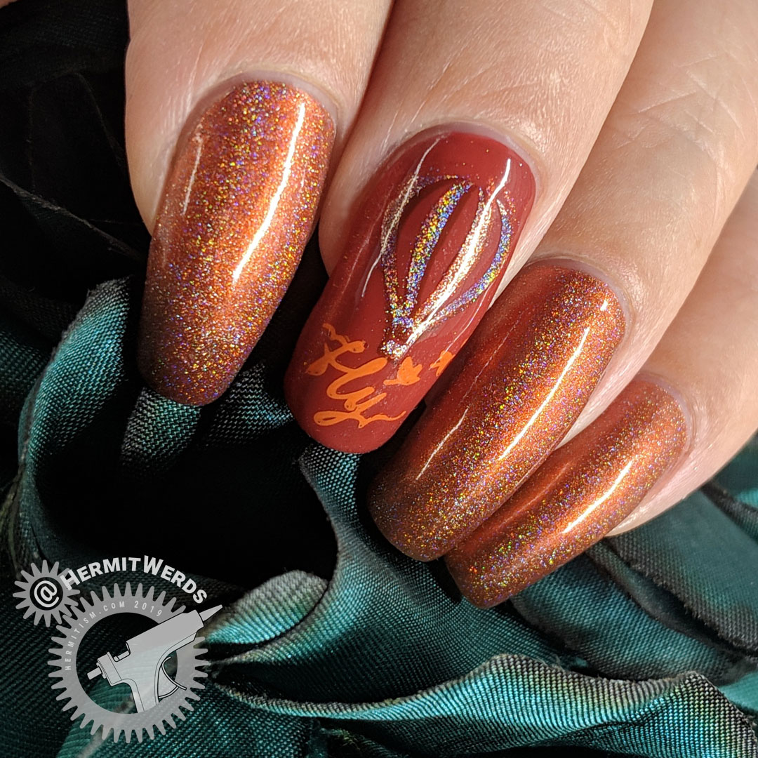 Fly, Hot Air Balloon - Hermit Werds - Orange monochrome hot air balloon nail art with holographic nail polish