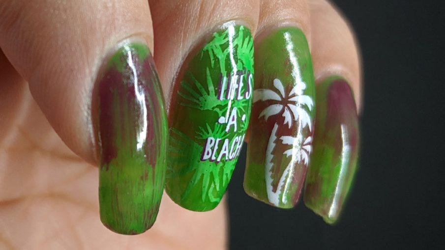Life's a Beach - Hermit Werds - tropical green pond jelly nail art with palm trees
