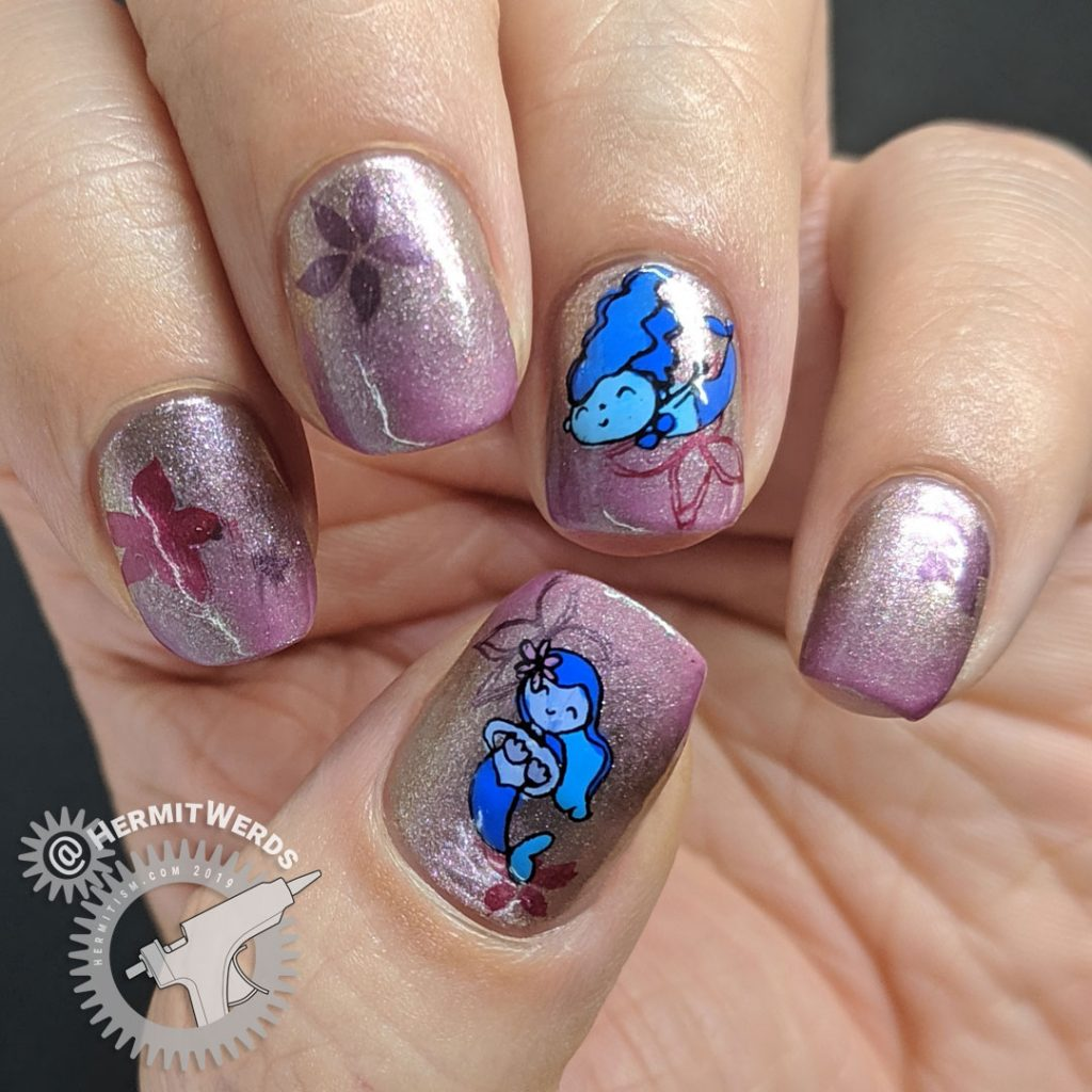 Sparkly mauve nail art with ocean flora and cute mermaid stamping decals for Mermay