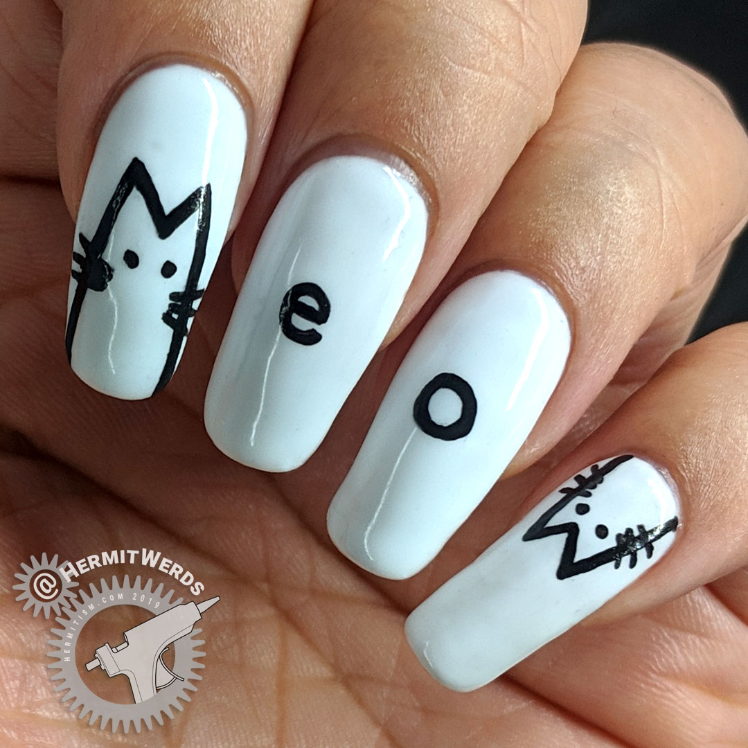 "Minimalist Meow - Hermit Werds - freehanded white ""Meow"" nail art with cute kitty cats"