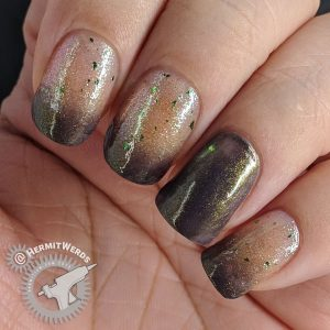 Brown and green baby boomer french tips.
