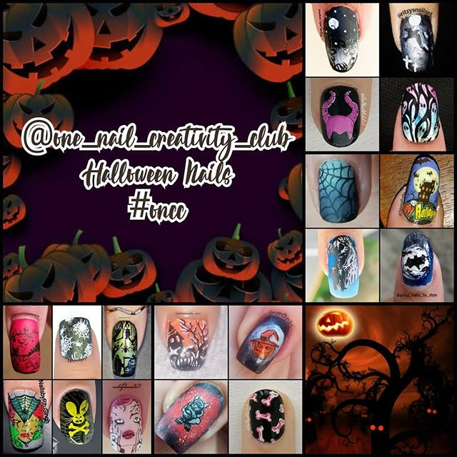 @one_nail_creativity_challenge collage Oct 2019 prompt: dark Halloween
