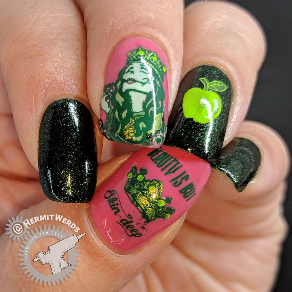 Green and pink nail art featuring the Evil Queen and her apple from Snow White.