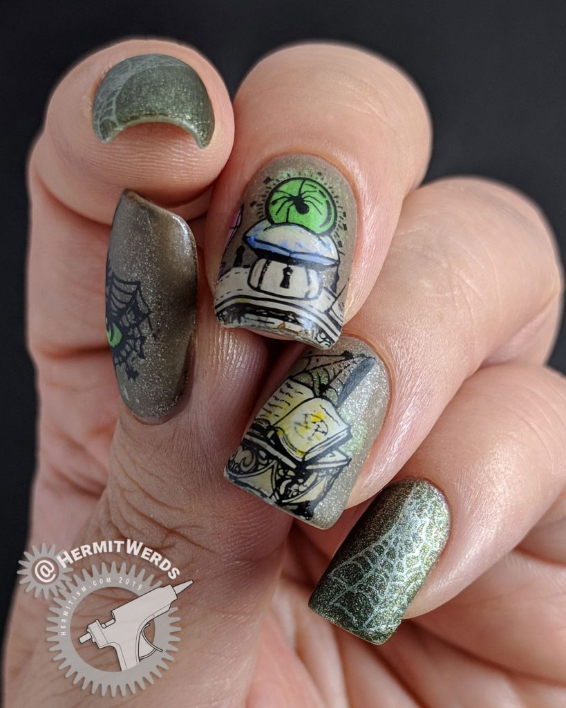 Neutral colored nail art of an evil magic spell to summon a spider queen. Lots of spider webs.