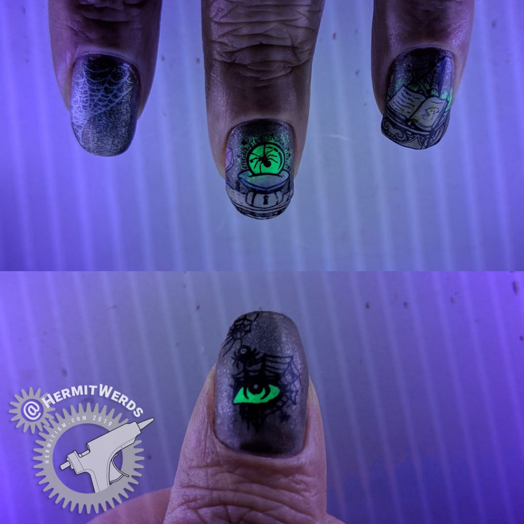 Glow in the dark. Neutral colored nail art of an evil magic spell to summon a spider queen. Lots of spider webs.