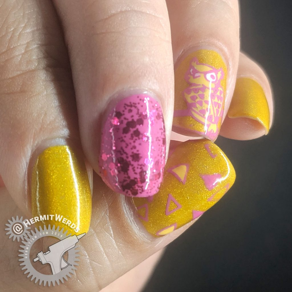 Mustard and pink nail art with an owl stamping decal giving you side-eye.