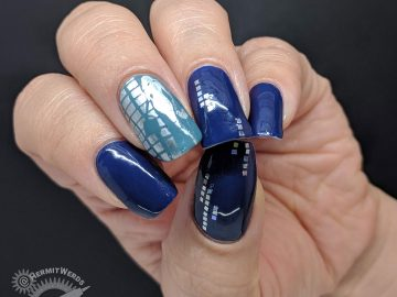 Blue nail art with holographic silver squares and a glamourous lady shopper
