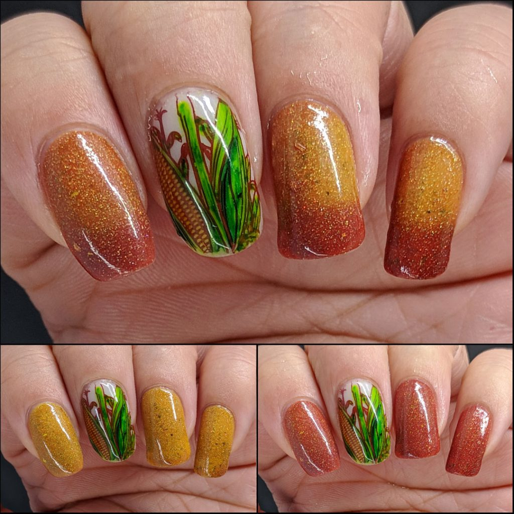 Mustard and terracotta thermal polish with corn decals colored in with Sharpie markers.
