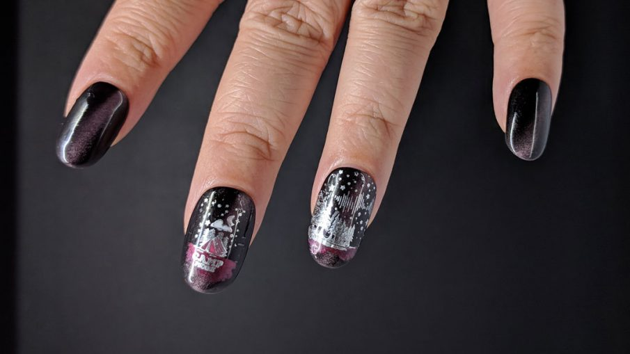 Camping themed nail art with a night sky on a soft magenta magnetic polish.