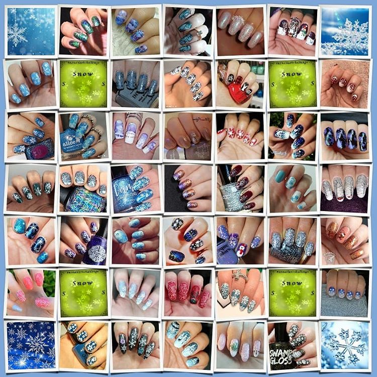 #AZNailArtChallenge - 'S' is for Snow collage