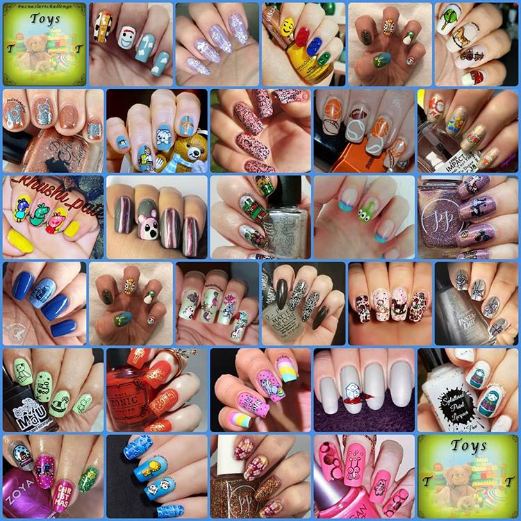 #AZNailArtChallenge - 'T' is for Toys collage